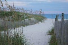 Den norr Carolina Beach och dyn fäktar med förgrund i fokus Arkivfoto