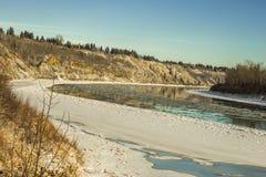 Den norr Saskatchewan floden böjde, Edmonton Royaltyfria Foton