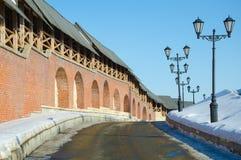 Den norr väggen av den Kazan Kreml Royaltyfria Bilder