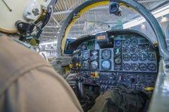 Den Northrop f-5a frihetskämpen, cockpit och instrumenterar panelen Royaltyfri Fotografi