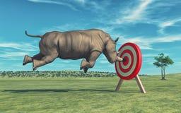 Den noshörning syften att uppsätta som mål Royaltyfri Foto