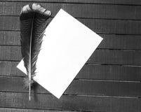 Den nostalgiska pennan och papperet för fågelfjäder Royaltyfri Fotografi