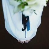 Den nätta foten med blått spikar under den vita kjolen Arkivbilder