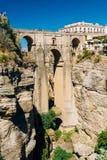 Den nya bron eller Puenten Nuevo i Ronda, landskap av Malaga, Spa Arkivbilder