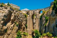 Den nya bron Puente Nuevo i Ronda, landskap av Malaga, Spanien Royaltyfri Fotografi