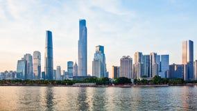 Den nya CBDEN av Guangzhou på solnedgång 2 Royaltyfri Fotografi
