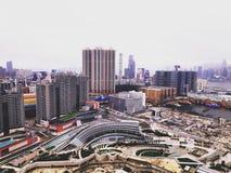 Den nya dagen med justerar färg och exponering av Hong Kong royaltyfria foton