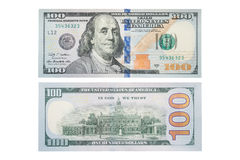 Den nya dollarräkningen för USA 100 på vit, makroskott S räkning för dollar 100, Royaltyfri Foto