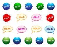 Den nya försäljningen sålde symboler royaltyfri illustrationer