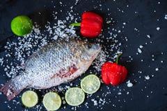 Den nya fisken av tilapia med saltar och smaktillsats för att laga mat royaltyfria bilder