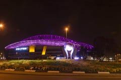 Den nya Natanya fotbollsarenan som är upplyst på natten Fotografering för Bildbyråer
