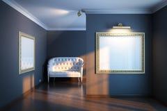 Den nya galleriinre med guld- inramar Arkivfoto