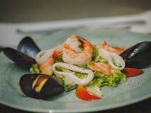 Den nya havs- maträtten i en dyr restaurang modern restaurang Yrkesmässigt kök Härlig portion av mat Arkivfoto