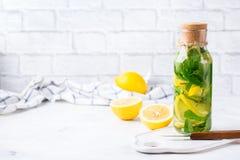 Den nya kalla citronlimefruktmintkaramellen ingav vattendetoxdrinken royaltyfri bild