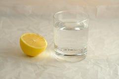 Den nya kalla mousserande mineralvattenen i ett exponeringsglas och citronen Royaltyfri Bild