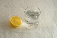 Den nya kalla mousserande mineralvattenen i ett exponeringsglas och citronen Arkivbilder