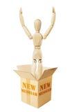 Den nya messiahen hoppar ut från kartongen Arkivbild