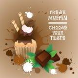 Den nya muffin väljer din läckra mat för den smakLogo Cake Sweet Beautiful Cupcake efterrätten royaltyfri illustrationer