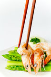 Den nya räkan lagar mat sparrisen arkivfoto