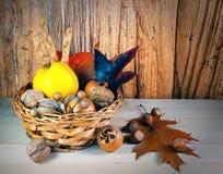 Den nya säsongsbetonade hösten bär frukt på träbakgrund Arkivbild