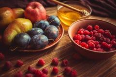 Den nya skörden av frukt och honung på tabellen Royaltyfri Fotografi