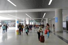 Den nya snabba järnvägsstationkorridoren Fotografering för Bildbyråer