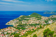 Den nya staden av Dubrovnik, Kroatien från över Royaltyfria Bilder