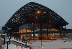 Den nya stationen Lodz Fabryczna Arkivbild