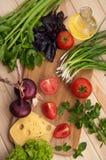 Den nya tomaten med chieves, löken, ost, sallad Arkivfoto
