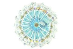 Den nya UK-polymern fem pund anmärkning och de nya 12na sid myntet £1 royaltyfri bild