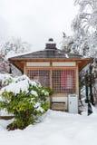 Den nya vita snönedgången på offentligt parkerar i vintersäsong Arkivbild