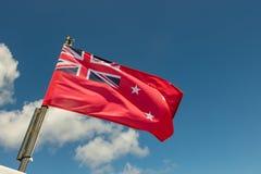 Den nyazeeländska röda flaggaflaggan flyger på Sunny Day royaltyfria foton
