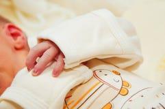 Den nyfödda baby'sen räcker Royaltyfria Bilder
