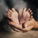 Den nyfödda moderhållfoten behandla som ett barn Royaltyfria Foton