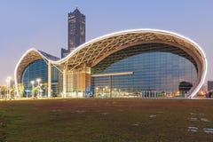 Den nyligen öppnade Kaohsiung utställningmitten och byggnaden 85 på bakgrund Royaltyfri Fotografi