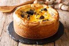 Den nytt bakade pajen, paj med sopp plocka svamp, cheddarost royaltyfria foton