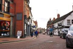 Den oberoende storgatan shoppar, Nantwich, Cheshire, England Fotografering för Bildbyråer