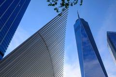 Den Oculus yttersidan av WTC-trans.navet i New York City, USA Arkivfoto