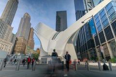 Den Oculus yttersidan av WTC-trans.navet i New York City, USA Fotografering för Bildbyråer