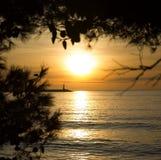 Den oförglömliga solnedgången Arkivfoto