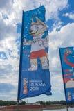 Den officiella maskot av den FIFA världscupen 2018 och FIFAEN Conf Royaltyfria Foton