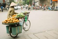 Den oidentifierade mannen kör en cykel med korgar i Hanoi, Vietnam Gatan som f?rs?ljer med cykeln, ?r en n?dv?ndig del av liv i V royaltyfri fotografi