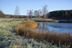 Den Oktober frosten i Petrovskyen Pushkin berg Arkivbilder