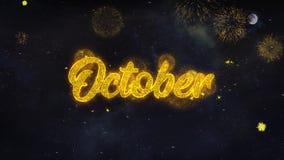 Den Oktober text?nskaen avsl?jer fr?n kort f?r fyrverkeripartikelh?lsning vektor illustrationer