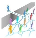 den olika bron sammanfogar medlemskapmergernätverket till Royaltyfri Bild