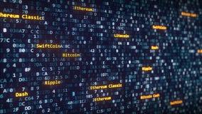 Den olika cryptocurrencyen namnger överskrifter som visas bland att ändra hexadecimalsymboler på en datorskärm framförande 3d fotografering för bildbyråer