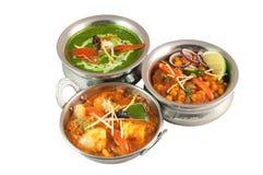 Den olika färgglade vegetariska indierdisken i metall bowlar på vit bakgrund Royaltyfria Bilder