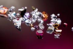 den olika gemstonen många ställde in Royaltyfria Bilder