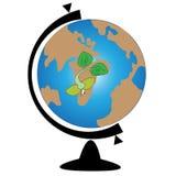 den olika jordklotillustrationvektorn visar världen Arkivfoton