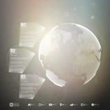 den olika jordklotillustrationvektorn visar världen Infographic mall för affär Arkivbilder